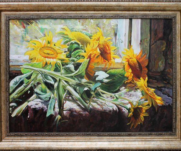 Слънчогледи, авторски натюрморт по снимка