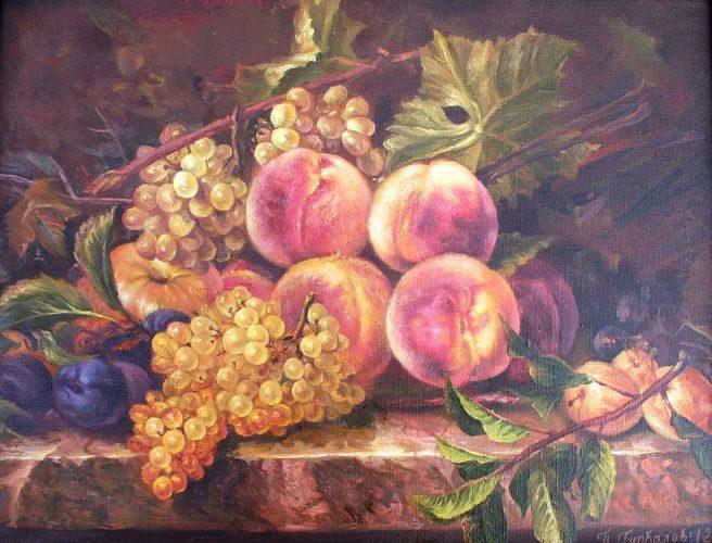 праскови и грозде, натюрморт с маслени бои