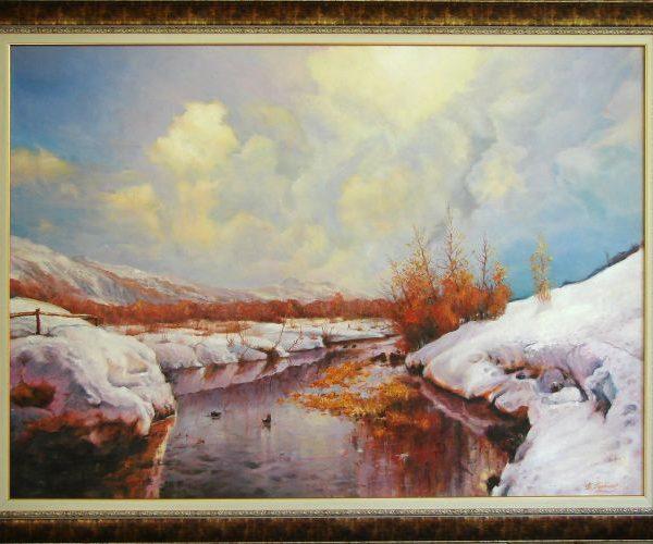Зимен пейзаж, река и сняг