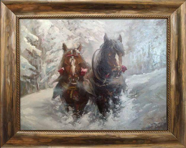 Зимен пейзаж с коне, картина