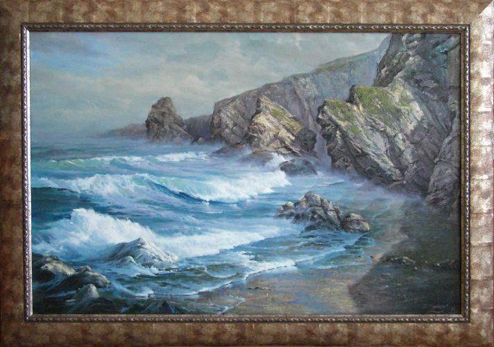 Пейзаж на скали и море, вълни, масло